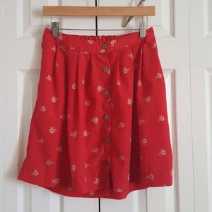 Mid-waste Red Button Up Bicycle Skirt